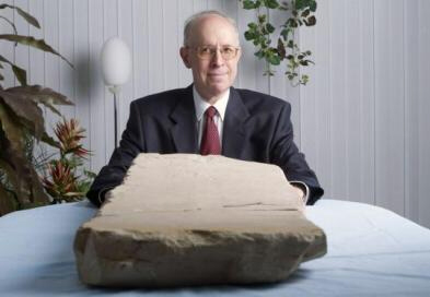 The stone tablet and its owner, David Jeselsohn
