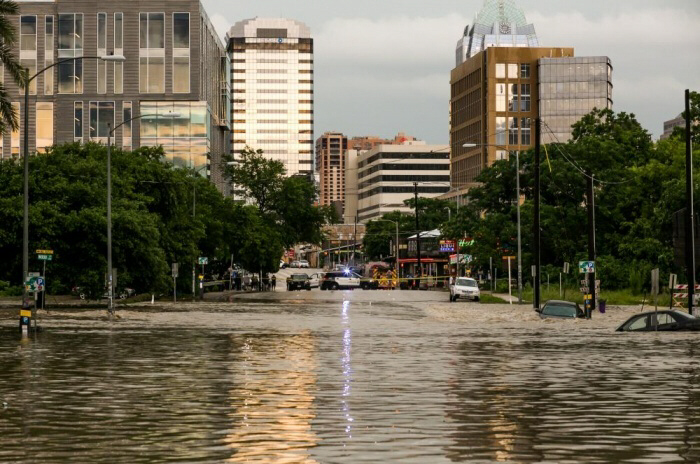 The streets of Austin are flooded after days of heavy rain
