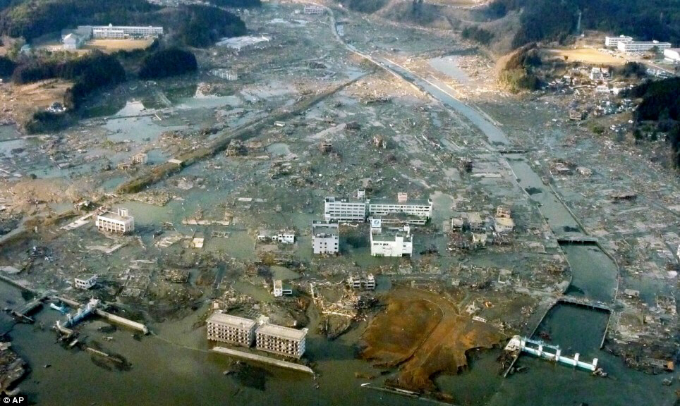The true scale of the devastation that the tsunami unleashed is clear in this picture of the port city of Minamisanriku town where 10,000 people are unaccounted for.