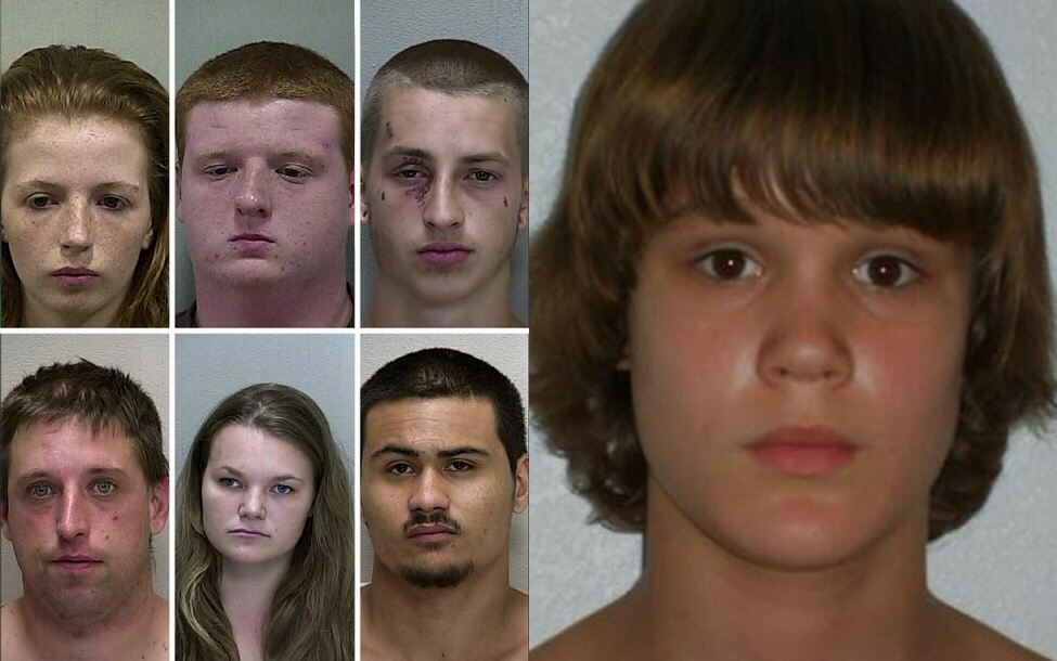 These six people, ages 15 to 37, have been arrested in connection to the death of Seath Tyler Jackson, 15 (pictured at right). They are, from top left, Amber E. Wright, 15; Kyle Hooper, 16, Michael S. Bargo, 18, James Havens, 37, Charlie Kay Ely, 18 and Justin Soto, 20.