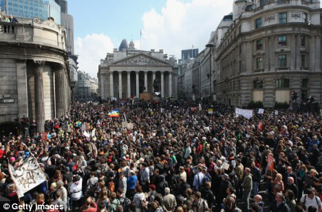 Thousands gathered outside the Bank of England