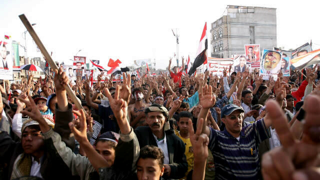 Thousands of Yemeni anti-government protesters demonstrate