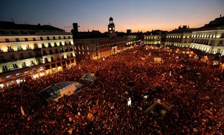Thousands of demonstrators gather in the Puerta del Sol in Madrid. Photograph: Susana Vera/Reuters
