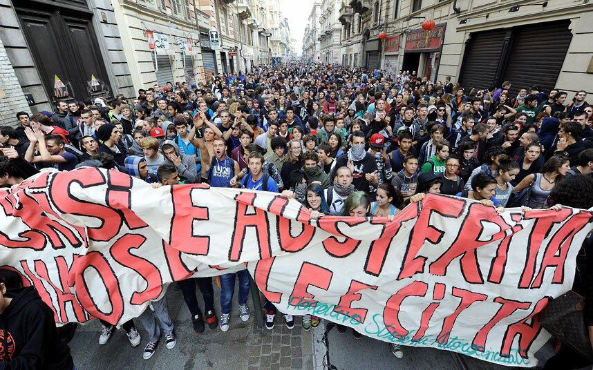 Thousands of students march against against austerity measures in Turin