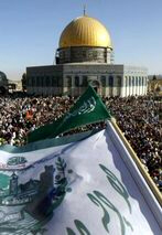 Thousands of worshippers gathering in front of the Al-Aqsa mosque