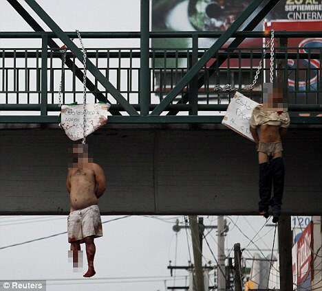 Two men hanged in Mexico, one with a chomped foot, one bloodied
