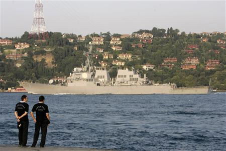 U.S. Navy destroyer McFaul, through the Bosphorus waterways