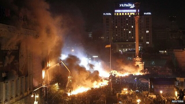 Utter chaos in central Kiev overnight