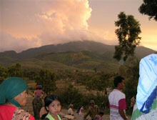 Villages were evacuated from their homes near Mount Talang