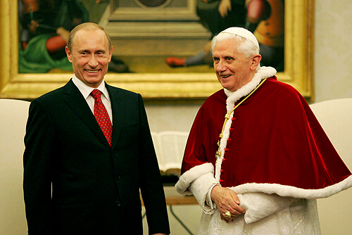 Russian President Vladimir Putin visits Pope Benedict XVI in early 2007 in Vatican City