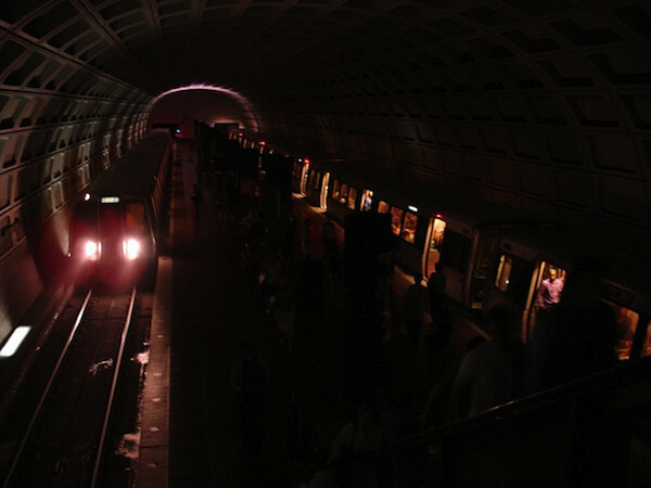 Washington, D.C. subway tunnel during the blackout