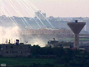 White phosphorous bursts over Gaza