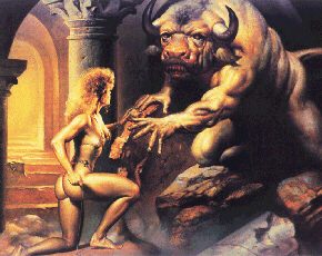 'Woman and Minotaur' by Boris Vallejo