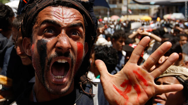 Yemeni protester demonstrates against President Ali Abdullah Saleh