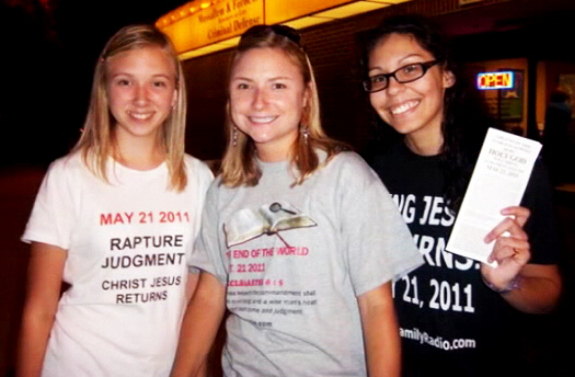 Young ladies wear T-shirts proclaiming the return of Jesus on May 21, 2011
