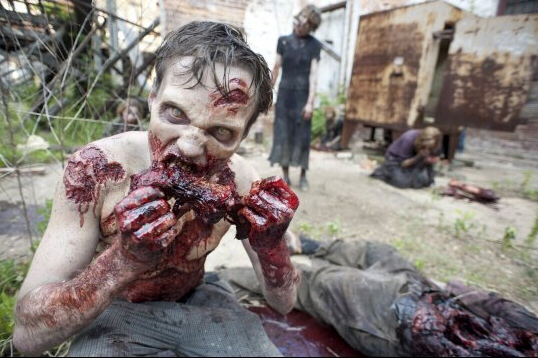 Zombie chews off and eats man's face